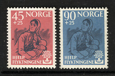 NORWAY SCOTT B64-65 1960 MOTHER AND CHILD ISSUE COMPLETE SET MH OG VF CAT $24!