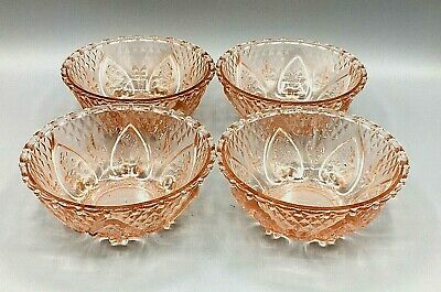 4 Trellis Fleur De Lis Hearts & Roses Pattern Pink Glass Bowls KIG