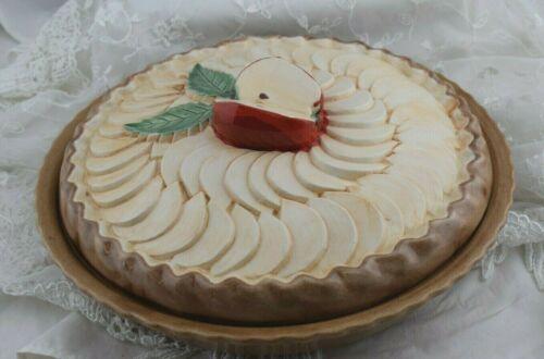 "Vintage Ceramic Pie Plate Carrier Apple  Large 12"" Nice"