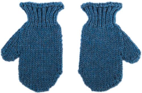 Merino Wool Mittens Kids Irish Aran Knit Simple Design Unisex Wool Mittens Blue