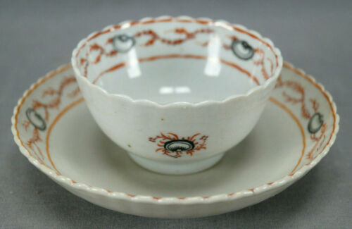 18th Century Chinese Export Hand Painted Black Shells Seaweed Tea Bowl & Saucer