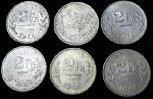 Lot of (6) 1944 Belgium 2 Francs US Mint Struck on Steel Cent Blanks WWII Coin