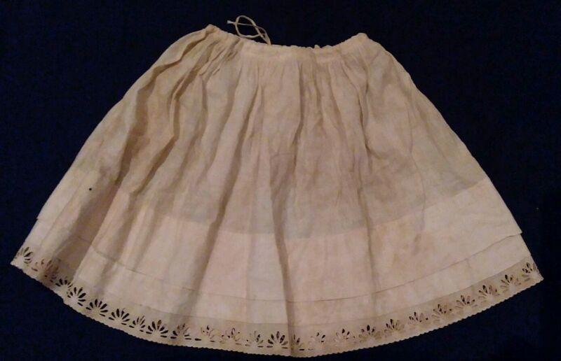 Antique Victorian Edwardian Petticoat Slip Cotton Lace Cutwork Apron Girls 5 6