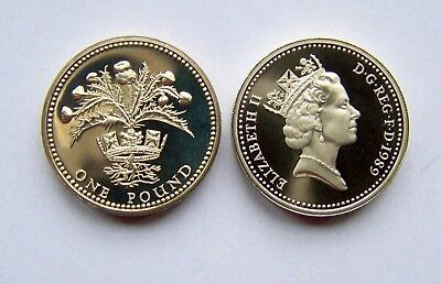 1989 proof  One Pound.Scottish Thistle
