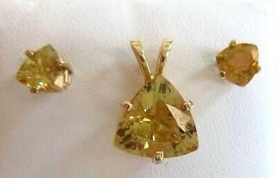 - Dazzling Citrine Trillion-Cut Pendant Earrings Set 14K Yellow Gold 5.1 Grams