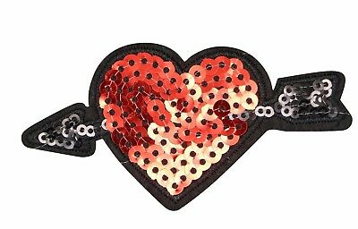 Red Sequin Heart - RED HEART ARROW PATCH, ARROW THROUGH RED HEART SEQUIN APPLIQUE (SRHA-558)