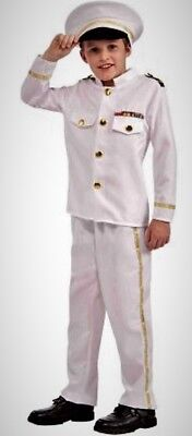 Navy Costumes For Boys (Navy Admiral Boys Costume M 8-10 Child White Hat, Jacket, Pants New In)