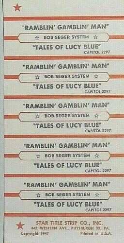"""JUKEBOX TITLE STRIP SHEET - BOB SEGER SYSTEM """"Ramblin"""