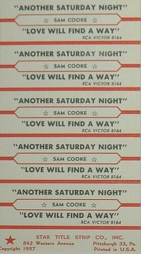 "JUKEBOX TITLE STRIP SHEET - SAM COOKE ""Another Saturday Night"" RCA 8164"