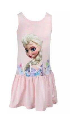#2 ❤H&M❤ Disney Anna und Elsa Olaf Frozen Kleid rosa Gr.134 / 140 NEU