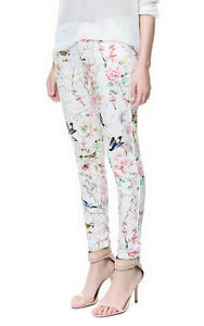 Beautiful! ZARA TRF Oriental Floral Print Trousers Pants UK8/EUR36/US4