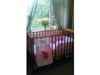 Wooden Cot Bed and Pink 9 Piece Bedding Set