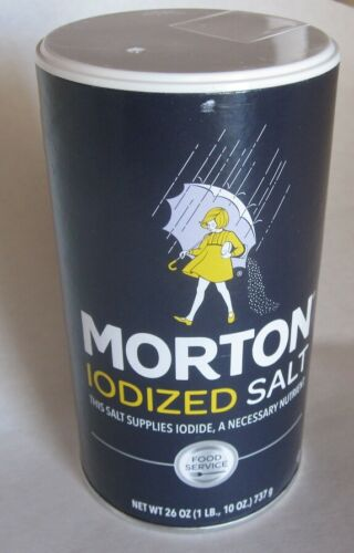 Morton Iodized Table Salt 26 Ounce Canister Very Fresh Worldwide Shipping