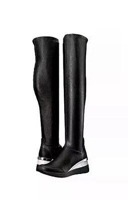 Michael Kors Black Tipton Wedge Over the Knee Rain Boot Size 7.5