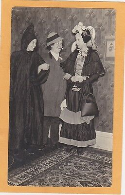 Real Photo Postcard RPPC - Three Women in Costume as Witch, Man and Old Maid (Real Witch Costumes)