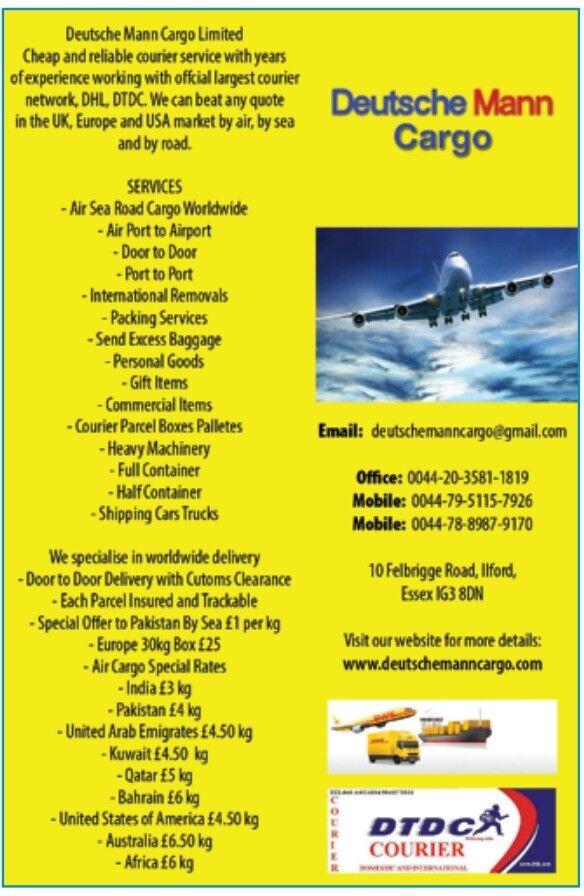 Air cargo India £2.75 KG Pakistan £1.25door To door Kuwait Qatar parcel excess weight worldwide