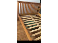 Pine shaker style double pine bed good condition