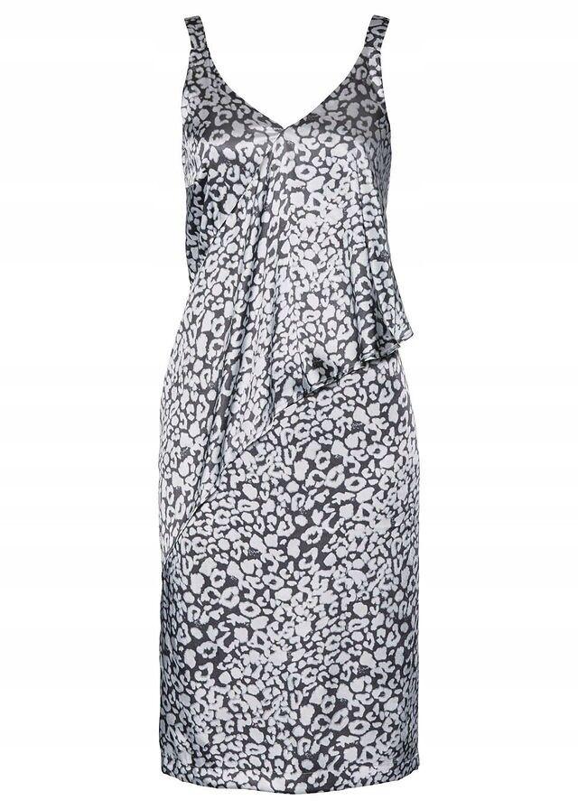 Sommer Kleid Satin ärmellos Grau Print 38 40 42 44 46 48 50 52 54 luftig  neu 440  62e72575d8