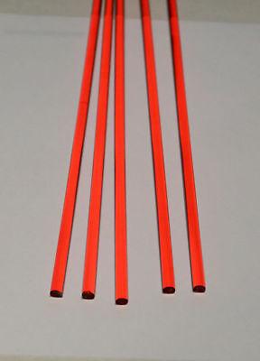 "5 PC 1/4"" DIAMETER 18"" LONG CLEAR RED ACRYLIC PLEXIGLASS TRANSLUCENT PLASTIC ROD"