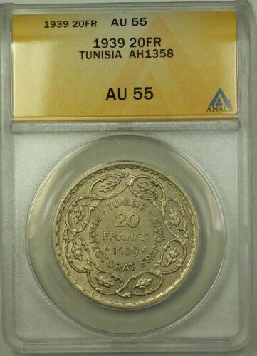 1939 Tunisia AH1358 Silver 20 Francs Coin ANACS AU 55 KM#E23
