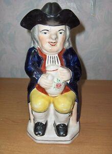 Antique-Vintage-Colonial-Man-Ben-Franklin-Pitcher-Lid-Figurine-Toby-England