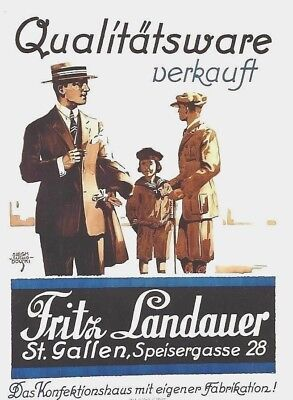 Original vintage poster LANDAUER SWISS MEN'S FASHION c.1915