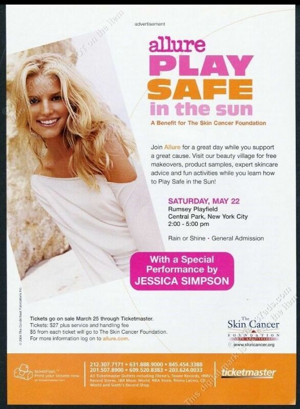 2004 Jessica Simpson photo Skin Cancer Foundation vintage print ad