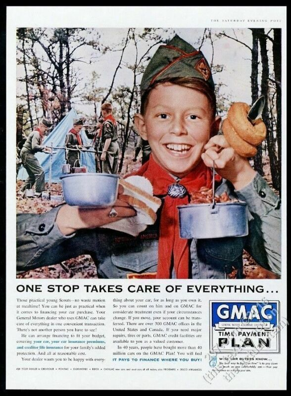 1959 Boy Scouts camping photo GMAC vintage print ad
