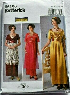 BUTTERICK PATTERN 6190 HISTORICAL 1912 COSTUME MISSES SIZES 6 8 10 12 14 UNCUT
