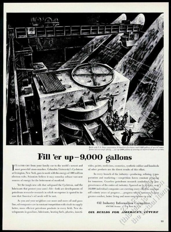 1949 Lynd Ward Columbia University Cyclotron art Oil Industry vintage print ad