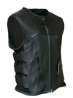 Swat Style Leather Vest Mens Motorcycle Biker Tactical Black Stretch