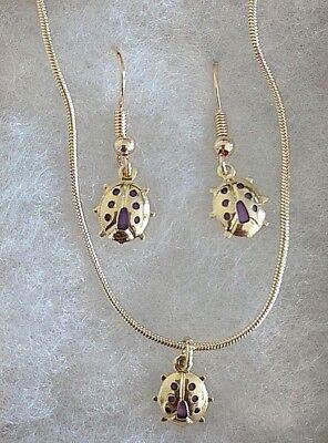 Ladybug Pendant And Earrings Set - Gift Ideas