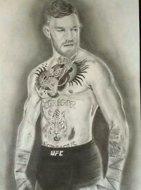 original pencil drawing of Conor McGregor