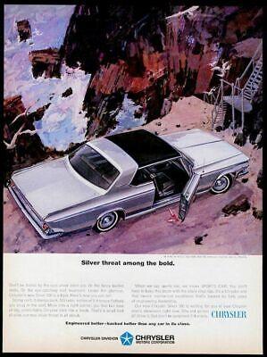 1964 Chrysler Silver 300 car illustrated vintage print ad