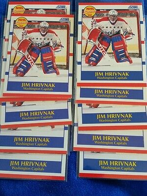 Lot Of 11  1990 91 Score  386 Jim Hrivnak Rc Prospect Washington Capitals Goalie