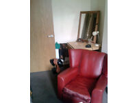 1920's vintage genuine red leather armchair
