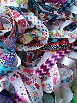 "elastic by the yard, wholesale 5/8"" FOE fold over elastic PRINTS grab bag 15y"