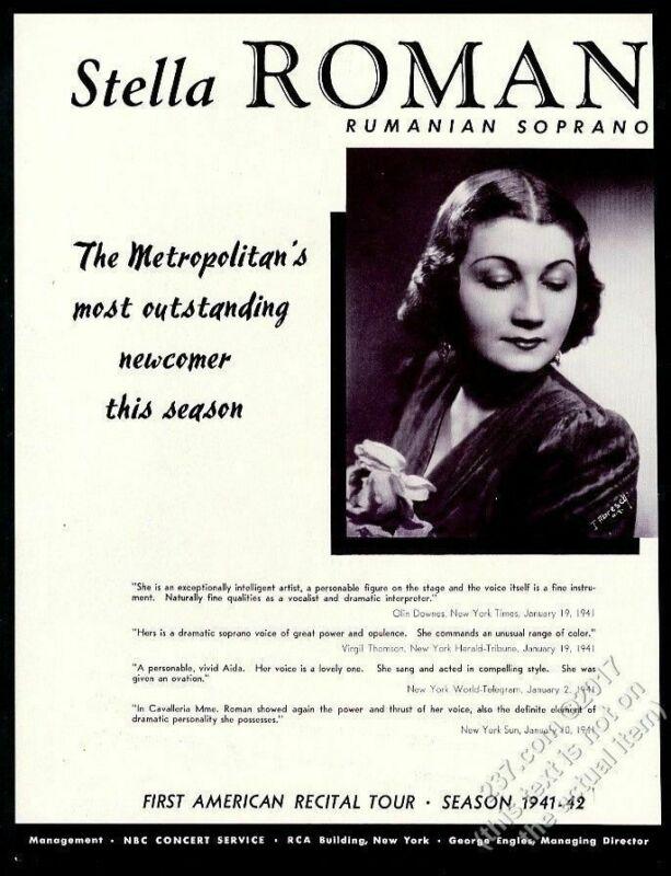 1941 Stella Roman photo opera singing recital tour trade booking ad