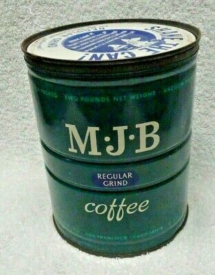 MJB Green And White Two Pound Metal Coffee Can