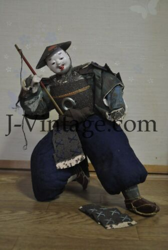 Antique Japanese Happy SAMURAI Doll with Armor YOROI KABUTO Helmet