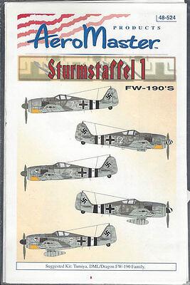 Aeromaster Decals 1/48 Sturmstaffel 1 FW-190''s 48-524