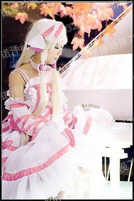 Hot Anime Chobits Chii White and Pink Dress Free Shipping (Chobits Chii Kostüme)