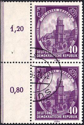 """DDR 1956 ABART PLATTENFEHLER NACH MICHEL 526 PF I """"4"""" OBEN RECHTS AUSGEBUCHTET O"""