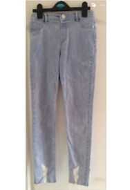 Brand New-RIVER ISLAND Light Blue Summer Washed Hem Jeans