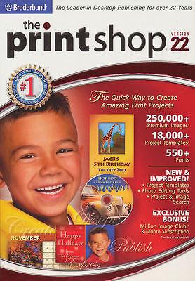 The PRINTSHOP 22 Standard Print Shop Publishing Software Windows XP/Vista/7 NEW!