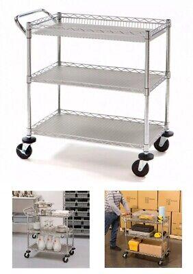 3 Tier Commercial Utility Cart Kitchen Rolling Steel Storage Adjustable Shelves