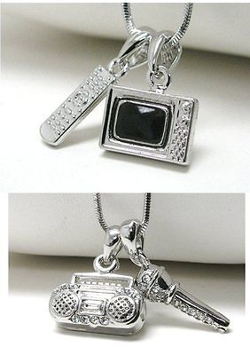 Tv Television Remote Boombox Radio Microphone Dual Pendant Necklace