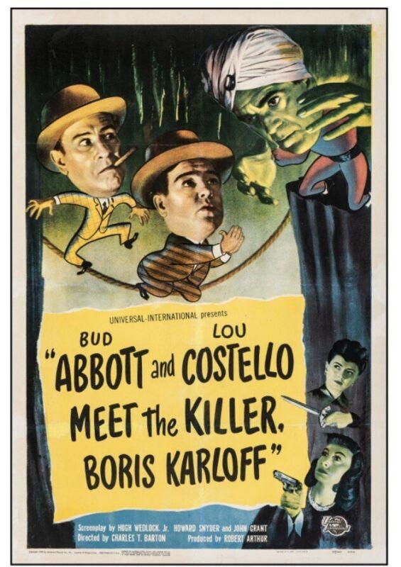Abbott and Costello Meet the Killer, Boris Karloff. 1949 Fine On Linen. Rolled
