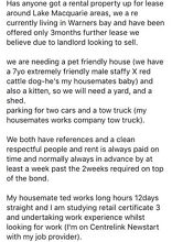 Needing a pet friendly rental property for 2 people 1 dog and a kitten Newcastle Newcastle Area Preview
