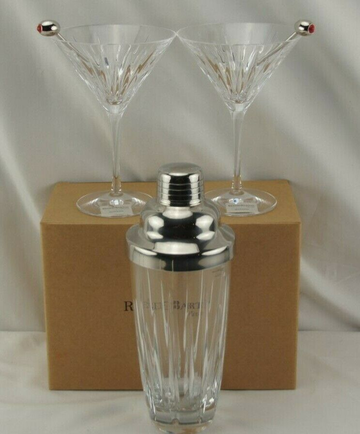 NWT Reed Barton Soho 3pc Martini Set Glasses Cocktail Shaker - $187.49
